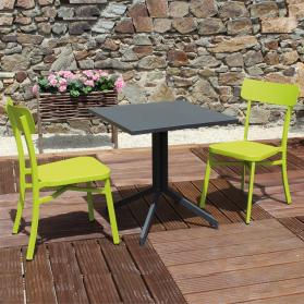 Salon de jardin MICA en aluminium anthracite - vert