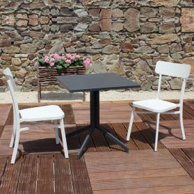 Salon de jardin MICA en aluminium anthracite - crème