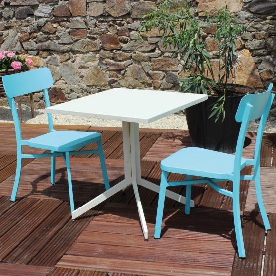 Salon de jardin MICA en aluminium crème - bleu