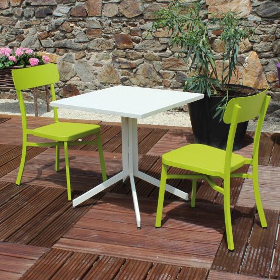 Salon de jardin 2 personnes MICA en aluminium coloris crème et vert