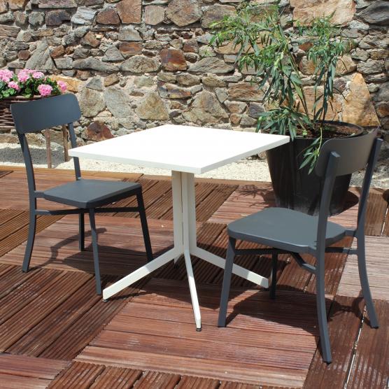 Salon de jardin MICA en aluminium crème - anthracite