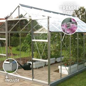 Serre en verre trempé 3mm Lams URANUS 11,45 m² avec base - Aluminium