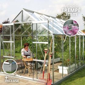 Serre en verre trempé 3mm Lams URANUS 9,85 m² avec base - Aluminium