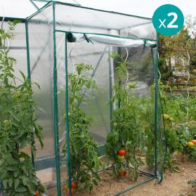 Lot de 2 serres souples à tomates PVC