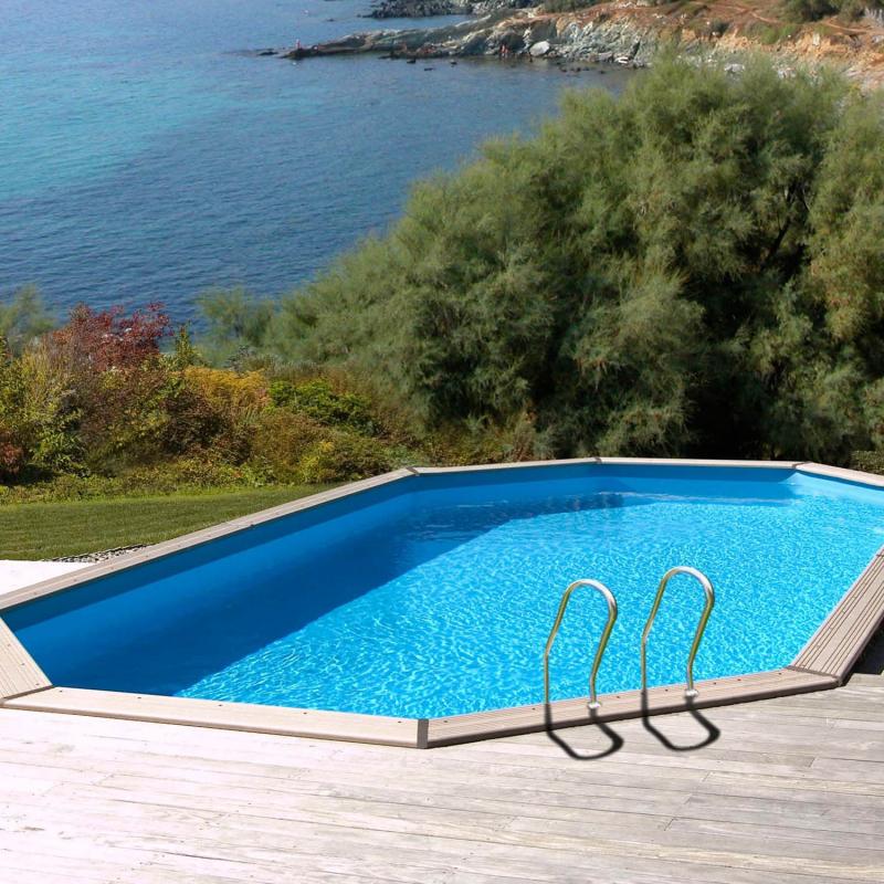 Piscine bois octogonale safran sunbay 6 37x4 12 m x h - Liner piscine hors sol octogonale ...