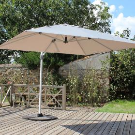 parasol déporté 3mx3m beige