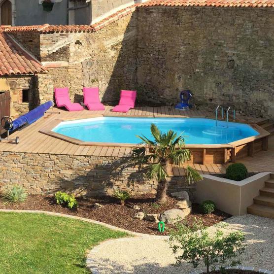 Piscine bois octogonale cannelle sunbay 5 51m x 3 51m x h 1 19m - Escalier bois pour piscine hors sol ...