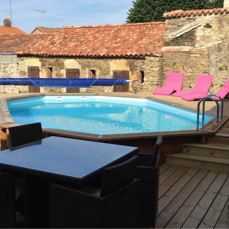 Piscine bois octogonale cannelle sunbay 5 51m x 3 51m - Piscine bois classe 5 ...