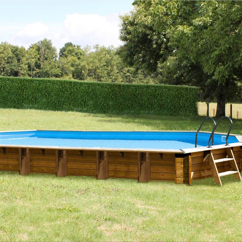 Piscine bois octogonale laranja sunbay 8 72 m x 4 72 m - Liner piscine hors sol octogonale ...