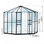 Jardin d'hiver verre trempé 3mm Lams HERA Ø 3,80 m - 9 m² avec base - Noir