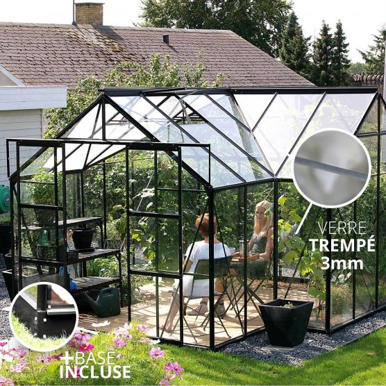 Grande serre verre trempé 3mm Lams ORANGERIE 13 m² et base-Laqué noir