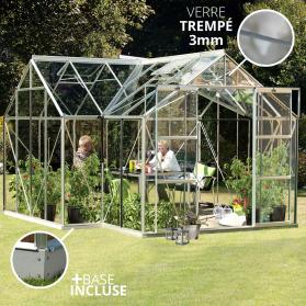 Jardin d'hiver verre trempé 3mm Lams ORANGERIE 13m² avec base - Alu