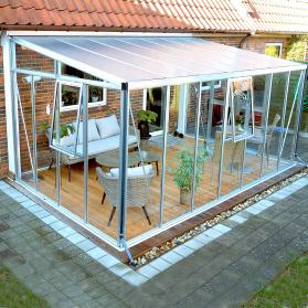 Jardin d'hiver verre trempé 3mm Lams HELENA 12,20 m² avec base - Alu