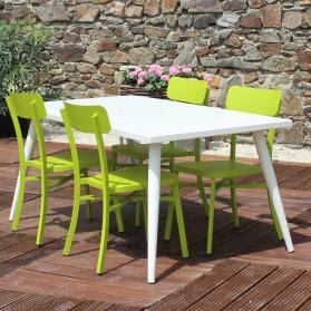Salon de jardin MICA en aluminium - Crème et vert