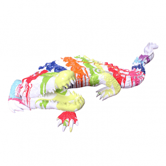 Crocodile Tête Relevée trash design blanc