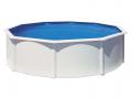 Piscine acier ronde Ø 4,60 m x H. 1,20 m blanche BORA BORA avec filtration à cartouche