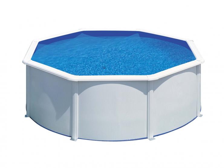Piscine hors sol acier ronde fidji m x h m coloris blanc - Filtration sable piscine hors sol ...