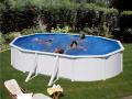 Piscine acier ovale 6,10 x 3,75 m x H. 1.20 m blanche FIDJI avec filtration à sable