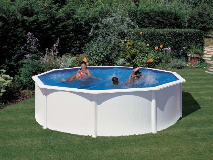 Piscine hors sol acier ronde atlantis 4 60 m h 1 32 m coloris blanc - Filtration sable piscine hors sol ...
