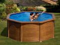 Piscine acier ronde Ø 2,40 m x H. 1.20m imitation bois Pacific avec filtration à sable