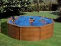Piscine acier ronde Ø 3,50 m x H. 1.20m imitation bois Pacific avec filtration à sable