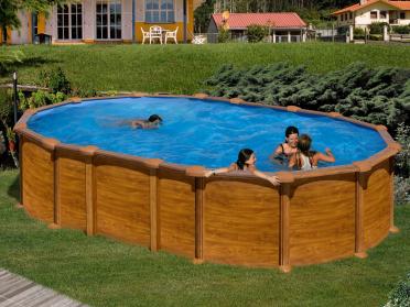 Piscine acier ovale 6.10 x 3.75 m H. 1.32 m aspect bois AMAZONIA avec filtration à sable