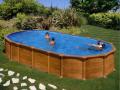 Piscine acier ovale 7.30 x 3.75 m x H.1.32 m aspect bois AMAZONIA avec filtration à sable