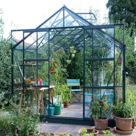 Serre en verre trempé 3mm LAURUS URANUS 8,30 m² - Verte