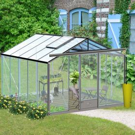 Serre en verre trempé Lams ESSENTIA 11,80m² - Aluminium naturel