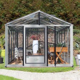 Serre en verre trempé Lams SUPRA 16,70 m² - Aluminium naturel
