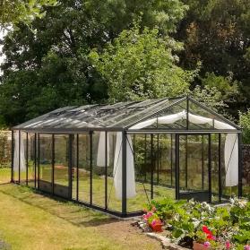 Serre en verre trempé Lams SUPRA 28,60 m² - Aluminium naturel