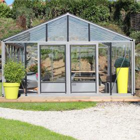 Serre en verre trempé Lams SUPRA 38,20 m² - Aluminium naturel