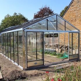 Serre en verre trempé Lams SUPRA 24,40 m² - Aluminium naturel