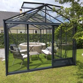 Serre en verre trempé Lams LUXIA 18,70 m² - Aluminium naturel