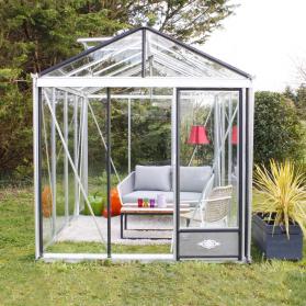 Serre en verre trempé Lams LUXIA 9,00 m² - Aluminium naturel
