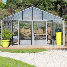 Serre en verre trempé Lams SUPRA 34,70 m² - Aluminium naturel