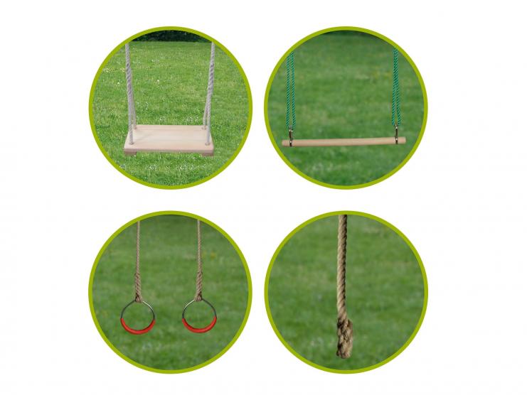 1 balançoire + 1 trapèze + 1 paire d'anneaux + 1 corde lisse
