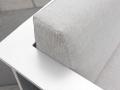 Structure en aluminium thermolaqué coloris blanc et coussins recouverts de Nano-Tex® coloris beige chiné