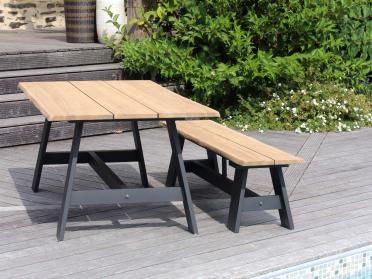 1 table + 2 bancs en teck