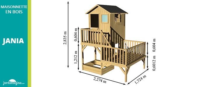 dimensions maisonnette en bois - grande maisonnette en bois sur 2 niveaux