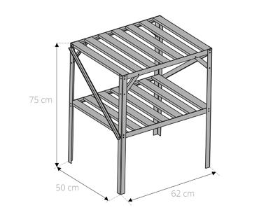 table étagère pour serre de jardin 2 plateaux