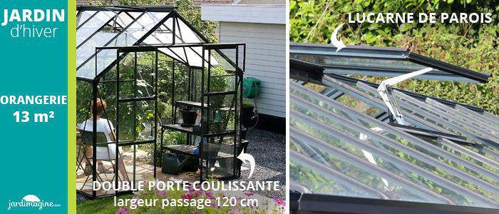 Jardin d'hiver LAMS Orangerie 13m² en aluminium noir avec base