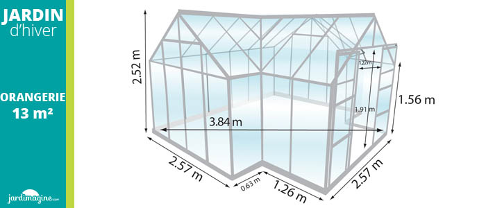 Jardin d'hiver LAMS Orangerie 13m² aluminium avec base