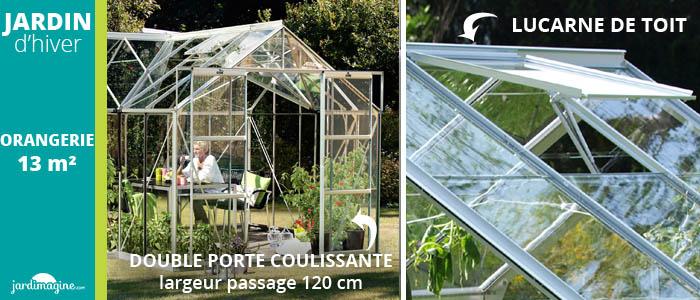 Jardin d'hiver Orangerie 13m² verre trempé avec base