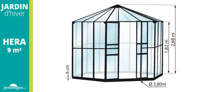 Jardin d'hiver hera 9m² coloris noir
