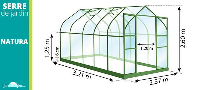 serre 8,25m² - serre de jardin en verre trempé et structure aluminium laqué verte