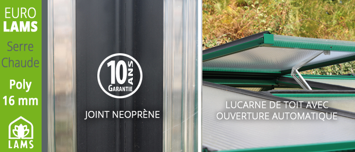 join pour serre polycarbonate garanti 10 ans
