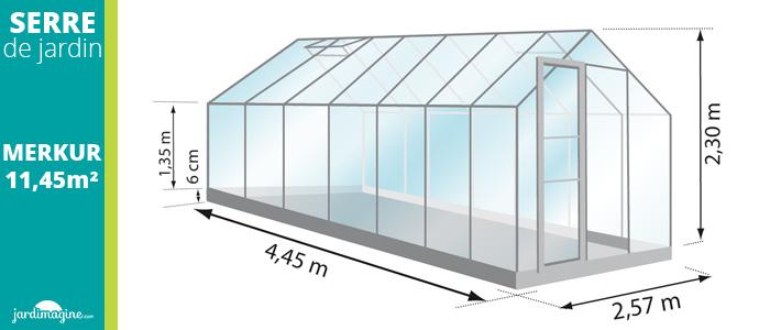 serre 11,45m² - serre de jardin en verre trempé et structure aluminium