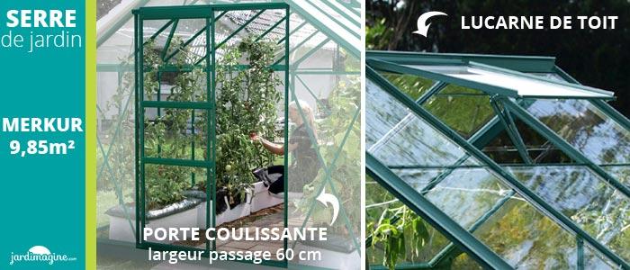 porte coulissante sur serre de jardin en verre