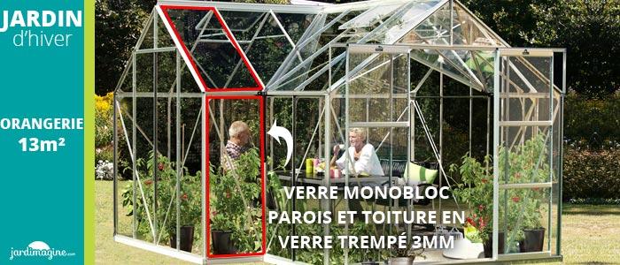 verre monobloc sur la serre jardin hiver orangerie 13m2